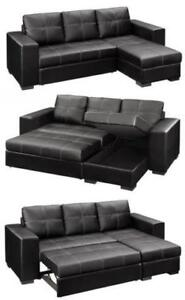 SALE ON NOW   2PC  BONDED LEATHER SECTIONAL WITH PULL OUT BED AND STORAGE ONLY $529
