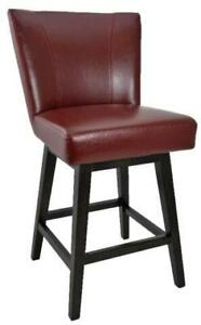 Swivel Leather Counter Stool with Back in Black, Brown and Red