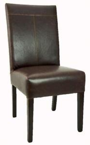 2 4 6 8 Antique Brown T-Patch Leather Dining Room Chair