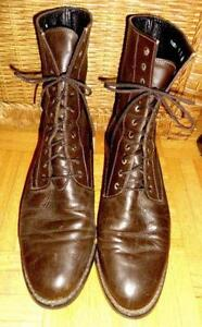 KARL LAGERFELD Womens 9B LEATHER ANKLE BOOTS BROWN FRANCE HIGH