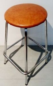 c. 1970 BAR Stool CHROME VINYL Antique Vintage