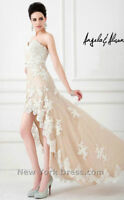 """BEIGE&WHITE Hi-Low DRESS by """"Angela and Alison"""" size 6"""