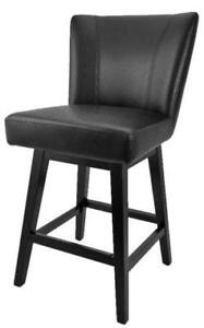 Swivel Leather Counter Stool with Back Black, Brown and Red