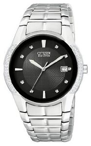 MENS CITIZEN ECO-DRIVE WITH 28 DIAMONDS (14 EACH SIDE) VIDEO!