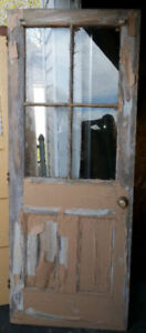 Original 4 Panel Glass Solid Wood Antique Country Kitchen Door