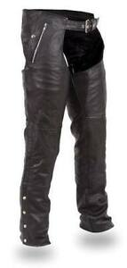 Unisex leather motorcycle chaps (snap out thermal liner)