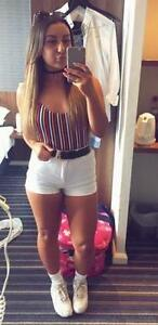 American Apparel High Waisted White Denim Shorts