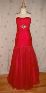 Beautiful Long Red Prom Dress with Lovely Jeweling On Bodice