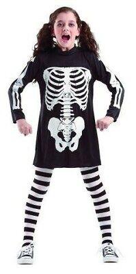 schwarzes Skelett Kleid für Mädchen Kostüm Halloween Fasching Karneval