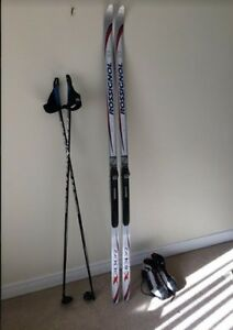 Rossignol Skis, Poles and Fischer Boots (women's 8) Used only 3X