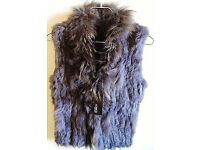 Lovely SMALL Knitted Real Grey Fur Vest With Fur Collar & Hook Closures, Never Worn!