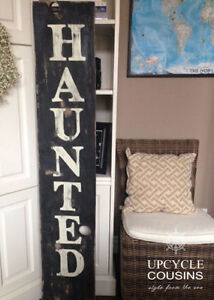 Antiqued Wood Haunted Sign