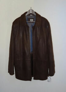 B & C Brown Leather Winter Jacket 2XL (XL fit) new