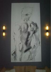 art work, charcoal on canvas, not painting large gallery size