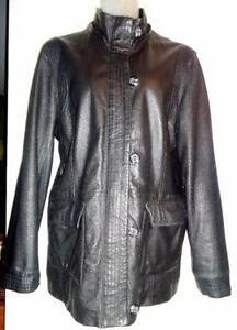 "DANIER LEATHER XL WOMENS BLACK FALL COAT 44""b JACKET MINT"