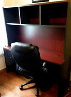Desk and Hutch with black leather chair!