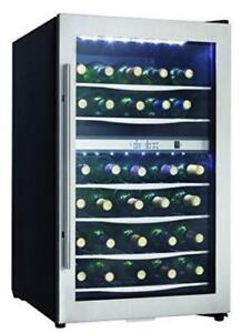 38 BOTTLE STAINLESS DUAL ZONE WINE FRIDGE!
