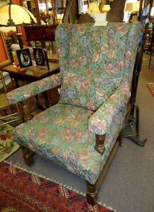 LARGE WING-CHAIR & FOOT STOOL, ANTIQUE