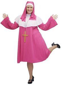 SHORT-PINK-Fabulous-PLUS-SIZED-NUN-CROSS-FANCY-DRESS-COSTUME-sizes-18-42