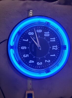 Blue Neon Wall Clock / Vintage Style Clock with Neon Light Accent