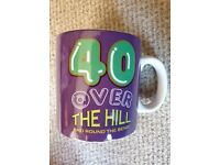 40 over the hill birthday mug