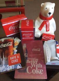 Coca cola collectibles,signs,cookie jar,napkin holder etc