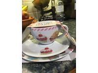 'Retro Treats' cup, saucer and side plate