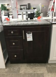 """30"""" MDF Vanity With Two Drawers and Two Doors"""
