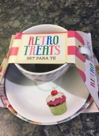 Retro cup, saucer and plate