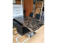 mocha marble effect dining table and chairs