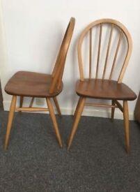 Blonde Ercol chairs. Retro.