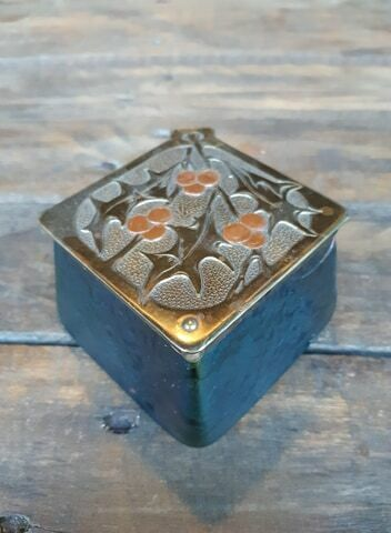 Vintage Kralik Art Nouveau Glass Inkwell Jewelry Box Home Decoration