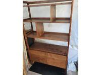 walnut 2 drawer shelving unit