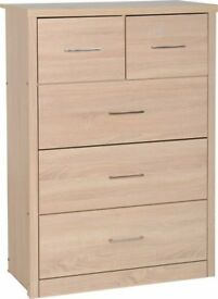 New Sonoma light or dark Oak effect 2 over 3 drawer chest of drawers get yours today