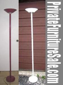 2 Tall Heavy Duty metal Halogen Floor Lamps,White & Red,$45 EACH