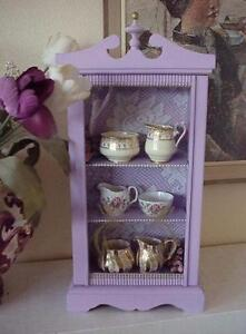Lavender Shelf Repurposed from Clock Case and 3 Vintage Cream and Sugar Sets