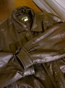 REDUCED!! Genuine Black Leather Jacket...Made in Canada XL