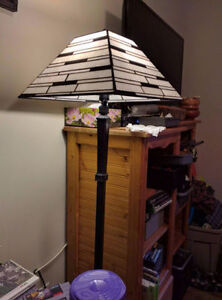 Beautiful White/Black Stained Glass Floor Lamp
