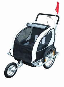 Black & White 2 in 1 Children's Bicycle Trailer Stroller jogger