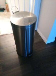 Large stainless steel garbage bin