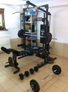 York half rack lat pull low pulley row bench great set up