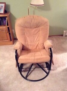 Upholstered Rocking Chair w/ matching swivel foot stool
