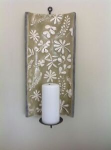 Beautiful lime green ceramic glazed wall candle sconce
