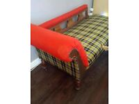CORNISH TARTAN ANTIQUE OAK CHAISE LOUNGE / COUCH / DAY BED - OPEN TO OFFERS