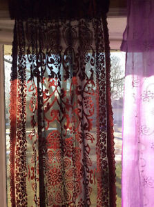 Purple, Lavender  sheer curtains, draped with  embroidered beads