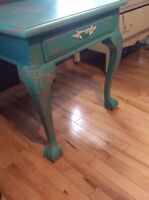 Outstanding antique style teal clawed feet side table