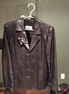 Manteau cuir noir type veston / Black Leather jacket