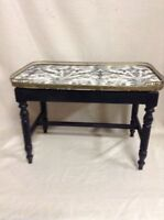 095: Low Coffee Table with Fabric Under Glass Top