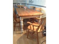 Farmhouse table and six chairs