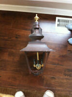 Huge 3 bulbs outdoor light fixture old bronze cast aluminium